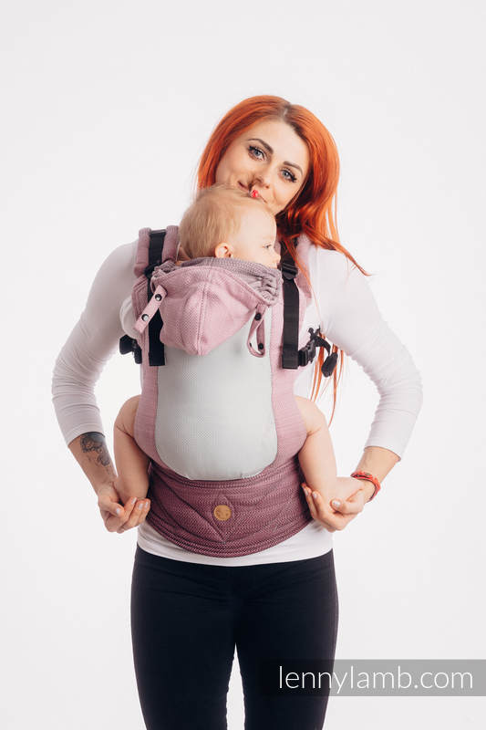 Lenny Lamb - LennyGo Ergonomic Mesh Carrier LITTLE HERRINGBONE OMBRE PINK