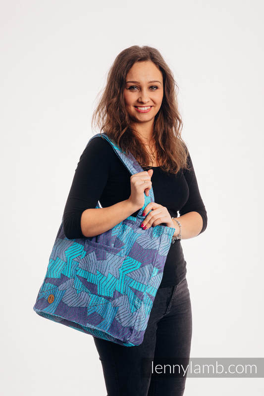 Lenny Lamb - Shoulder bag made of wrap fabric (100% cotton) - PRISM - BLUE RAY - standard size 37cmx37cm PRISM BLUE RAY