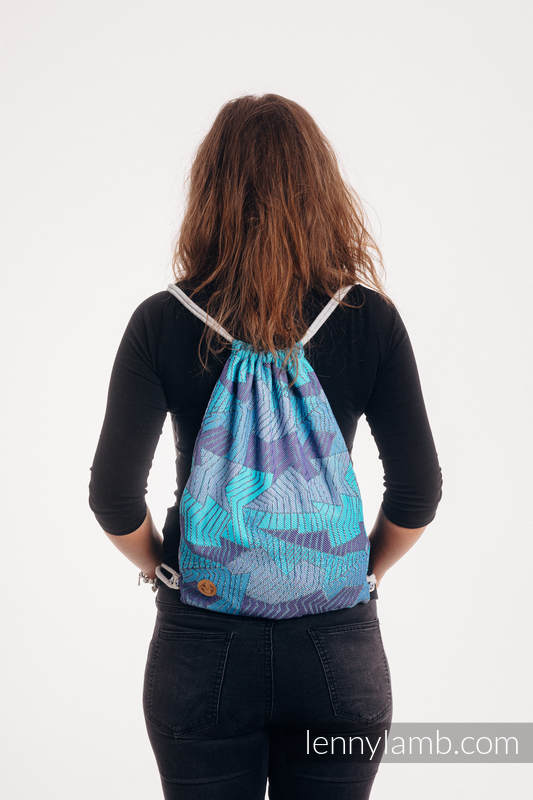 Lenny Lamb - Sackpack made of wrap fabric (100% cotton) - PRISM - BLUE RAY - standard size 32cmx43cm PRISM BLUE RAY