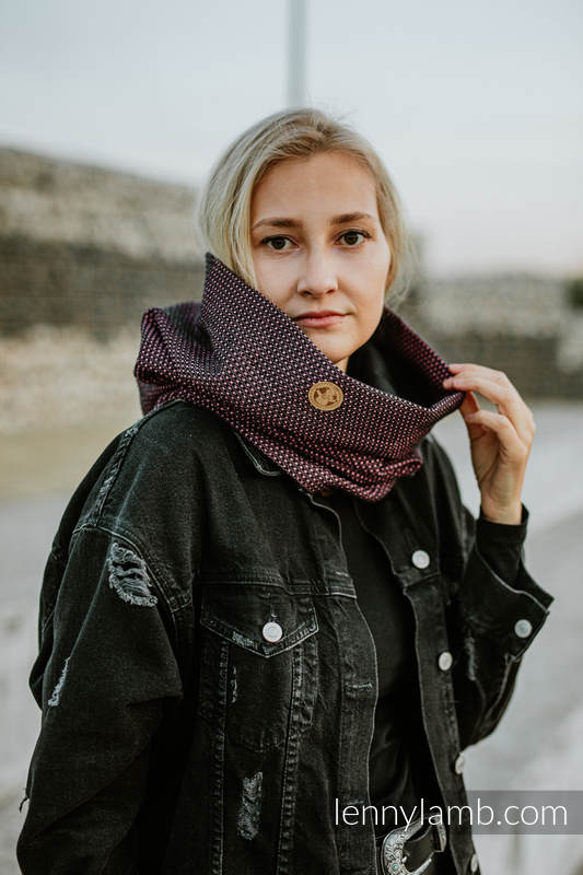 Lenny Lamb - Snood Scarf (Outer fabric - 60% cotton 28% linen 12% tussah silk; Lining - 100% cotton) - LITTLE PEARL - VARIETE & BLACK LITTLE PEARL VARIETE BLACK