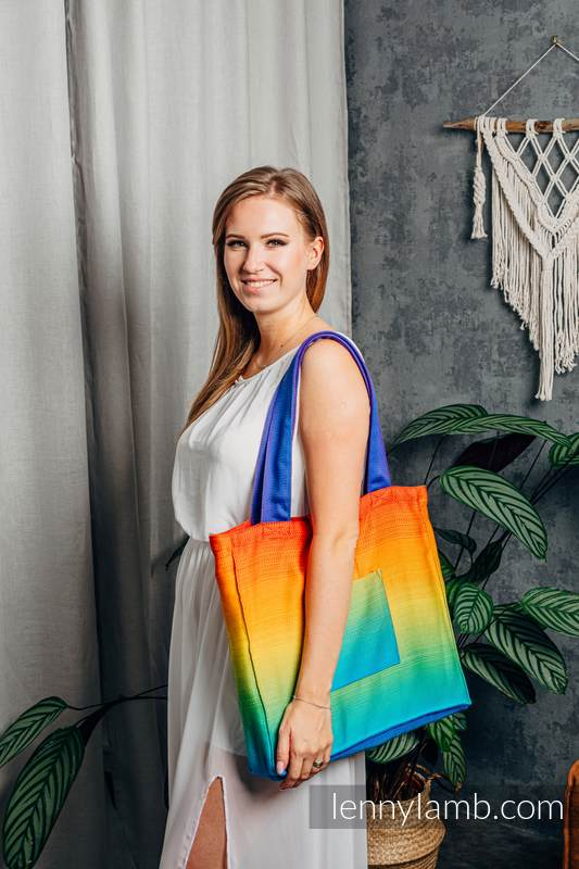 Lenny Lamb - Shoulder bag made of wrap fabric (100% cotton) - RAINBOW BABY - standard size 37cmx37cm RAINBOW BABY