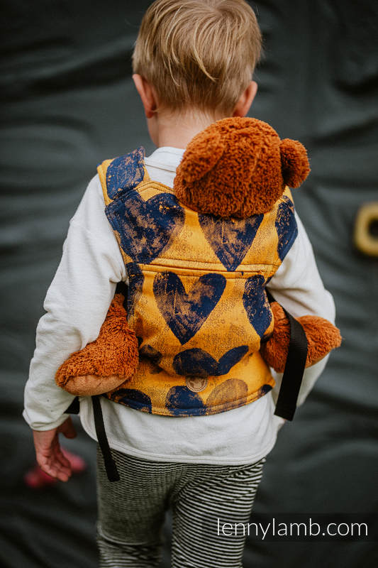 Lenny Lamb - Doll Carrier made of woven fabric LOVKA MUSTARD NAVY BLUE