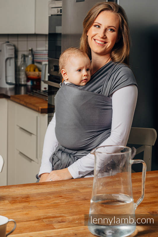 Lenny Lamb - Stretchy/Elastic Baby Sling - Anthracite - standard size 5.0 m
