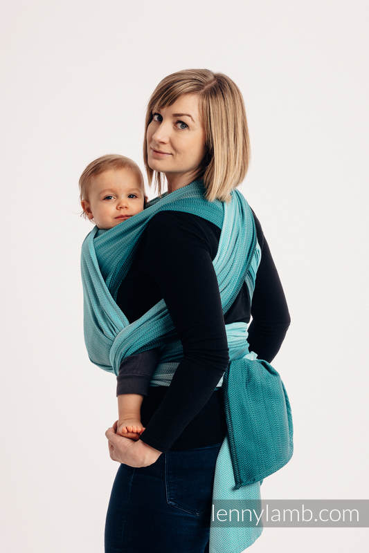 Lenny Lamb - Тъкан слинг-шал LITTLE HERRINGBONE OMBRE TEAL L